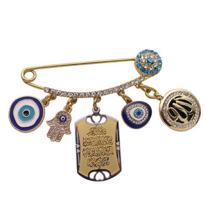 Broche main de fatma <br>5 pendentifs or</br> - Main de fatma