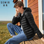 SEMIR brand men down jacket casual fashion winter jacket for men Hooded windbreaker white duck coat male outwear