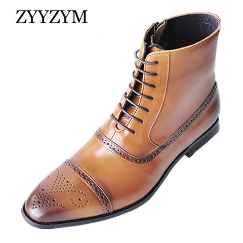Men Boots Leather Side Zipper Lace Up Mens (GQ Model)
