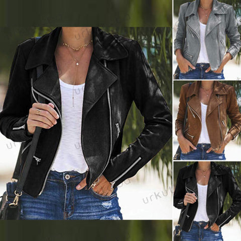 Women leather jacket coats Zip 2019