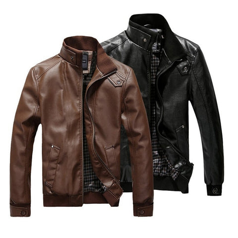 2019 New Fashion Autumn Male Leather Jacket Black Brown Mens Stand Collar Coats Leather Biker Jackets Motorcycle Leather Jacket