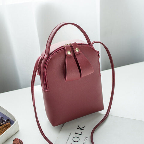 Women Fashion Bow Tie Satchel PU Leather Mini Bag Lovely Zip Up Bags Female Street Bags 2019 New