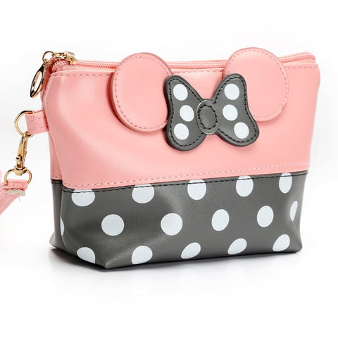 Travel Cosmetic Bag Cartoon Bow Makeup Case Women Zipper