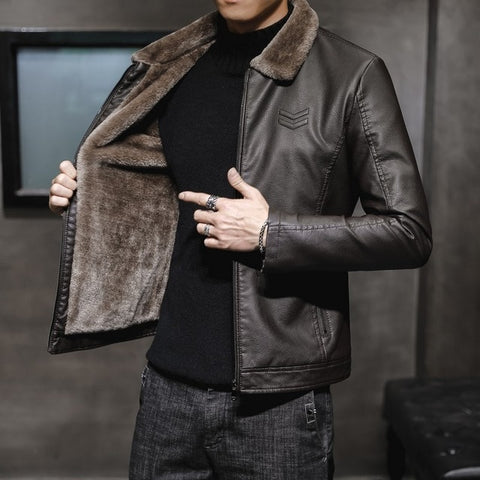 New Thick Leather Jacket Mens