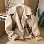 Winter Women Thick Warm Vintage Patchwork Suede Lambswool Biker Jackets Coat Chic Loose Faux Leather Outwear Top Female Overcoat