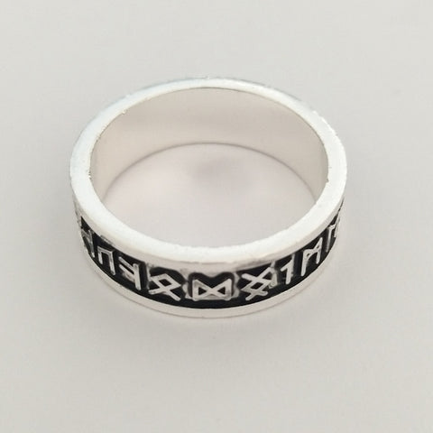 Black Magic Symbols on Silver Ring