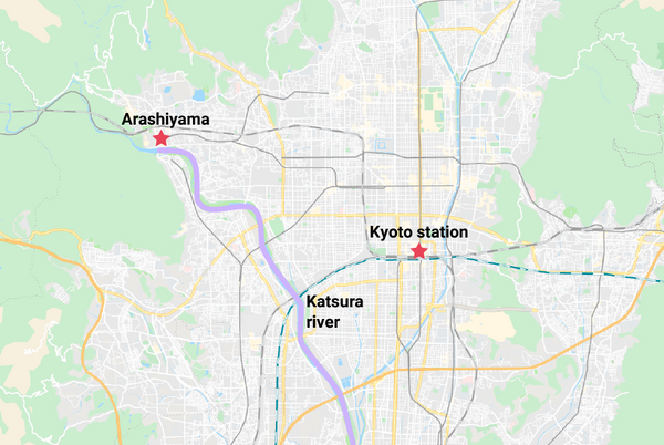 Illustration of Kyoto showing where the Katsura river is.