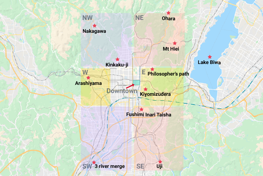 An illustrated map of Kyoto showing the different areas: East, West, Northwest, Northeast, Southwest, Southeast and Downtown.