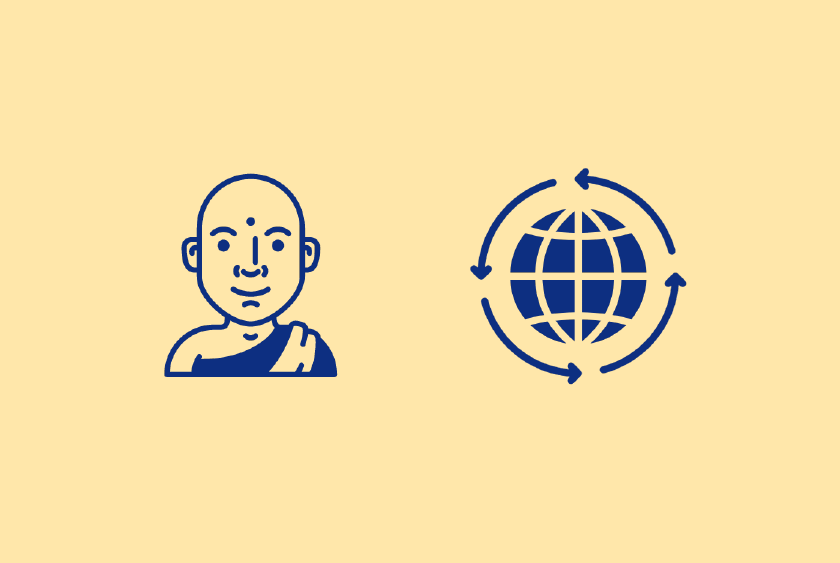An illustration of a monk and a globe which represents the marathon monks.