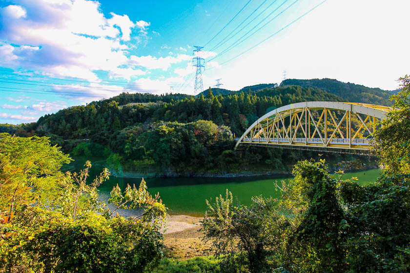 Spectacular views over the Seta river along our Kyoto, Uji and Otsu cycling route.