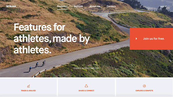 The Strava features page on their website.
