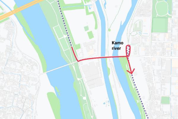 An illustration showing where the bridge crossing is to get to the Kamo river on the route.