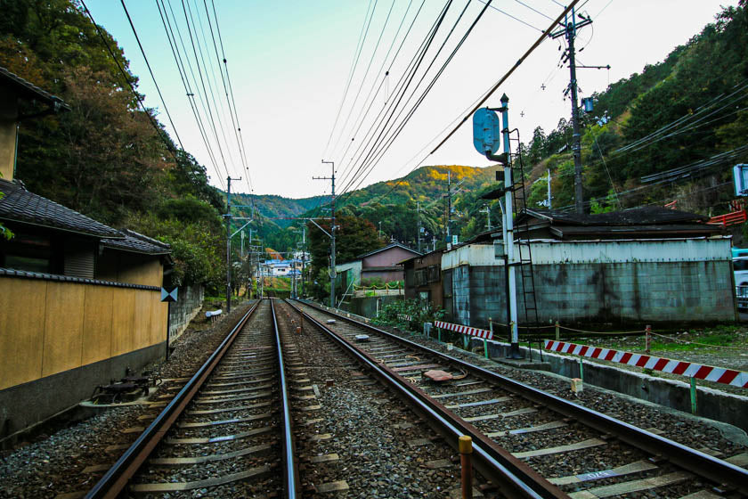 The view looking up the train tracks next to route 1 near Otsu station, Japan.