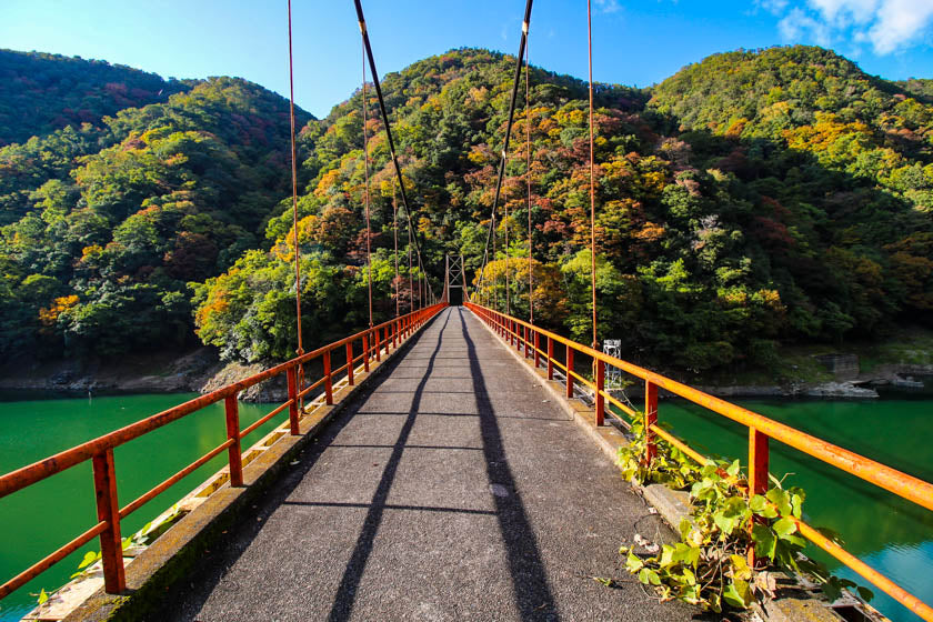 The beautifu scenery along the Uji and Seta river cycling route, in Kyoto.