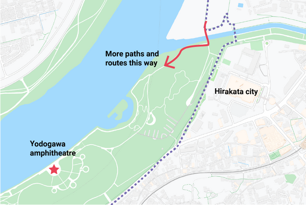 Illustration of the route options at Hirakata during the ride from Kyoto to Osaka.