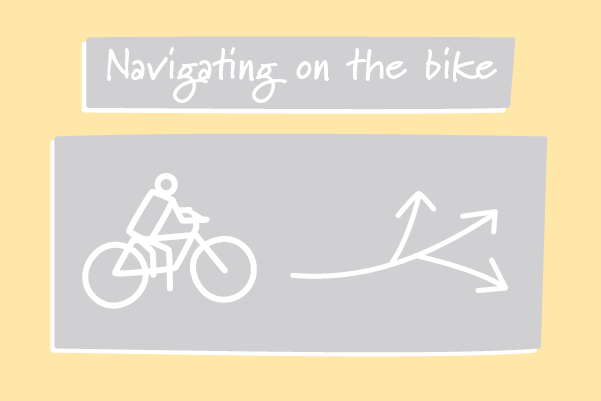 A cyclist choosing the direction to ride. Illustration.