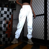 Reflective Pants Nine Pants Harem Casual Pants Hip Hop Elastic Waist Pants 3M Reflective Ladies
