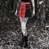 Gothic Punk Skirts Women Red Plaid Pleated Ball Gown High Waist Patchwork Mini Skirt