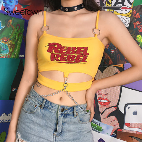 Rebel Hollow Out Crop Top Camisole Metal Chain Sexy Tops For Women