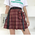 Sexy mini Women skirt high waist a pleated skirts Plaid skirt belt + pocket