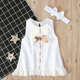 Summer Girls Dress Sleeveless Girls Casual Maxi Dresses Fashion Kids with Headbands