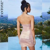 Women Sexy Metal Color Mini Party Dress Summer Pink Glitter Bodycon Dress