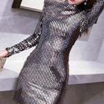 Silver Dress Sequins Nightclub Dress Long Paragraph Elegant