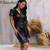 PU leather v neck sexy bodycon dress Women high waist party midi dress elegant - Outfitter Style