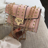 Clear Designer Chains Female Rivets Transparent Square PU