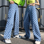 Plaid Pattern Loose Pant Outwear Fashion Blue Jeans Cargo Pants