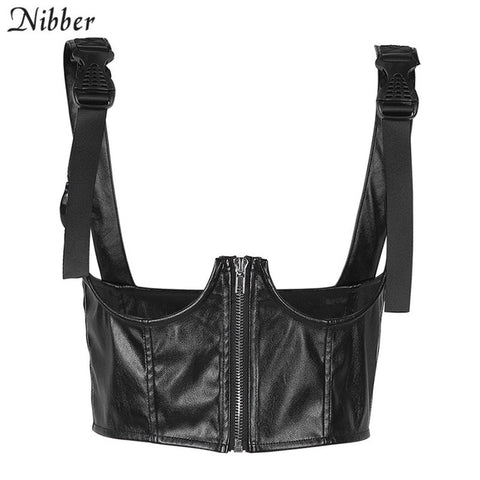 Punk crop tops womens summer wild casual Leather camisole stretch