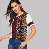 Block Cut-and-Sew Leopard Casual T Shirt