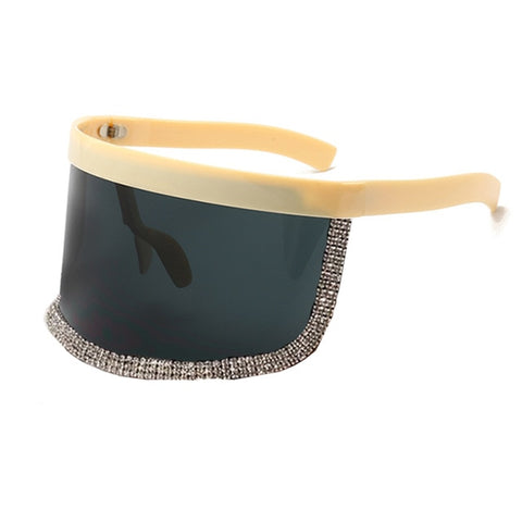 Extra Oversize Shield Visor Sunglasses Women Flat Top