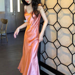 Summer Satin Slip Dress Vintage Spaghetti Strap Party Dress Pink Gold Silk Sexy Maxi Dress