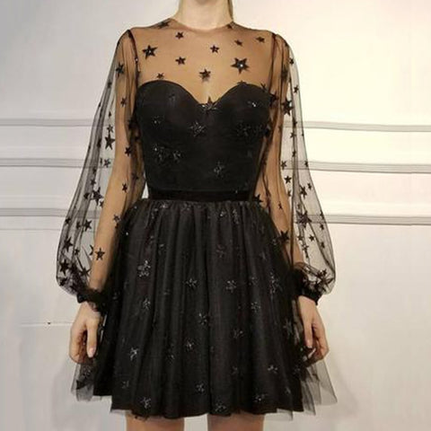 Women Sequin Star Print Tulle Dress Ladies Mesh See-Through Cocktail Party Dress