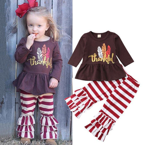 Kids Baby Girls Clothes Sets Thanksgiving Little Girls Dress Tops+Stripe Ruffle Pants 2Pcs Outfits