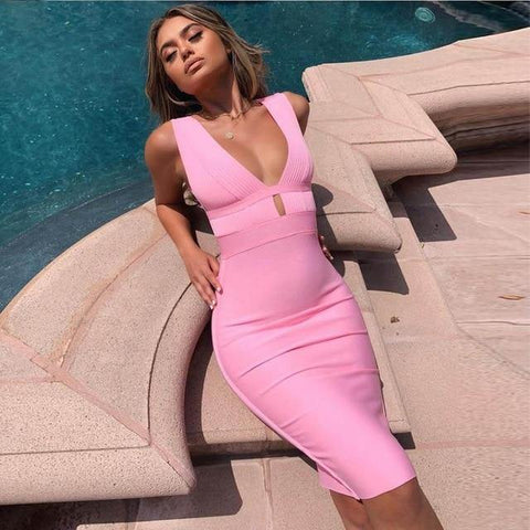 Bodycon Sexy Double Deep v Neck Pink Bandage Dress Rayon Evening Party Dress