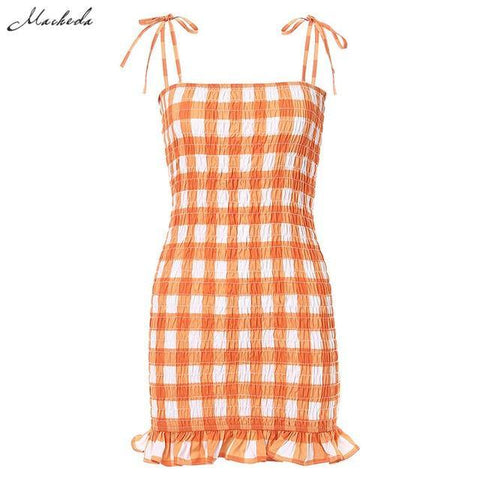 Small Fresh Orange Plaid Mini Dresses Womens Summer Ruffle Adjustable Spaghetti Strap Dress