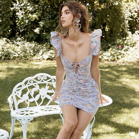 Floral Print Low Bust V Neck Lace Up Skinny Dress Lady Casual Pleated Ruffles Slim Dresses