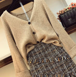 Womans V-necked Cardigan Knitted Tweed Skirt Two Piece Girl Ladies Skirts Set Outfits