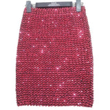 Sequined Patchwork Shinny Pencil Mini Skirts High Waist Party