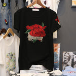 Rose Embroidered T-shirt woman