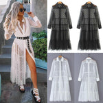 Women Mesh Sheer Transparent Polka Dot Lace Cover up V Neck Button Down Maxi Dress