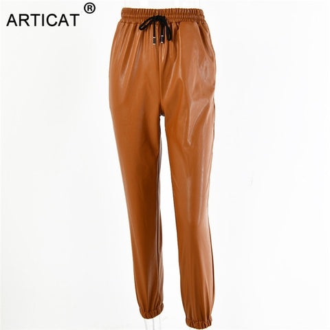 PU Leather Women Harem Pants Casual High Waist Elastic Faux Leather Trousers