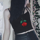 Black Rose Embroidered Crop Top Backles Sexy Sleeveless Crop Top