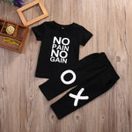 Toddler Kids Baby Boy Clothes Set Outfits Clothes No pain no gain T-shirt