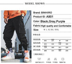 Spring Cargo Pants Men Cotton Drawstring Many Pockets Joggers Trousers Purple Black Ankle