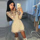 Elegant women's mini dress sky blue beige pink long sleeve lace A word dress celebrity party