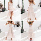 White pearls sexy women summer dress Hollow out embroidery maxi cotton dresses Evening party
