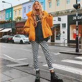 Plaid Zipper Checkered Straight Pants Women Fashion